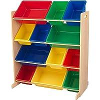 KidKraft 16774 Etagère de rangement, chambre enfant, meuble incluant 12 casiers en plastique interchangeables - couleurs…