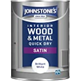Johnstone's One Coat Quick Dry Satijn Verf Satijn 1.25 Litre Briljant Wit