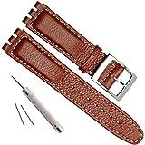 Cinturino in pelle di mucca con fibbia in acciaio inox per orologio Swatch (17 mm, punto bianco/marrone)