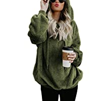 iWoo Teddy Fleece Sweatshirts Womens Casual Double Fuzzy Fluffy Hoodie Solid Color Warm Stylish 1/4 Zip Pullover with…