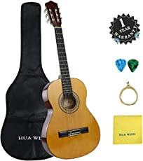 ChitarraClassica 3/4 36 pollicicon Starter Kit per Principianti e Bambini Corde in Nylon, Starter kit: Gigbag, Plettri, Corde di Ricambio, Panno per lucidatura(Colore Naturale)