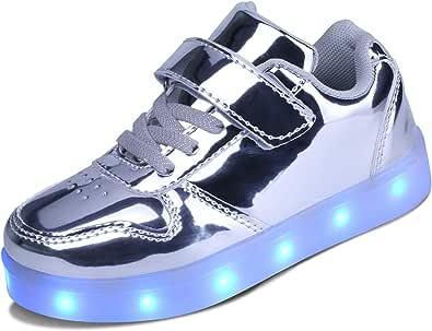 kealux Bambini Unisex Scarpe LED Scarpe con Tacco Basso Scarpe da Ginnastica, Lampeggianti Scarpe caricabili USB Traspiranti