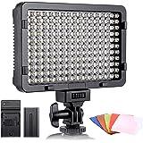 ESDDI - Luz LED fotográfica, luz de vídeo, 176 LED Regulables superluminosos 3200-5600K, 5 filtros de Color, CRI 95+, baterí