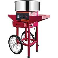 Machabeau Machine Barbe Papa en Couleur Rouge, avec Chariot, Professionnelle, Cotton Candy Machine Idéale pour Réunions…