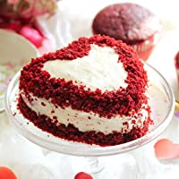 Ferns 'N' Petals Red Velvet Heart Cream Cake Eggless- Half Kg  Birthday Cake  Anniversary Cake Next Day Delivery