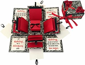 Greeting cards buy greeting cards online at best prices in india crack of dawn crafts 3 layered birthday explosion box black text m4hsunfo