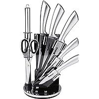 Velaze Couteaux de Cuisine avec Support Couteaux Bloc de 8 Pièces INOX, Couteau de Chef Professionel en Acier Inoxydable…