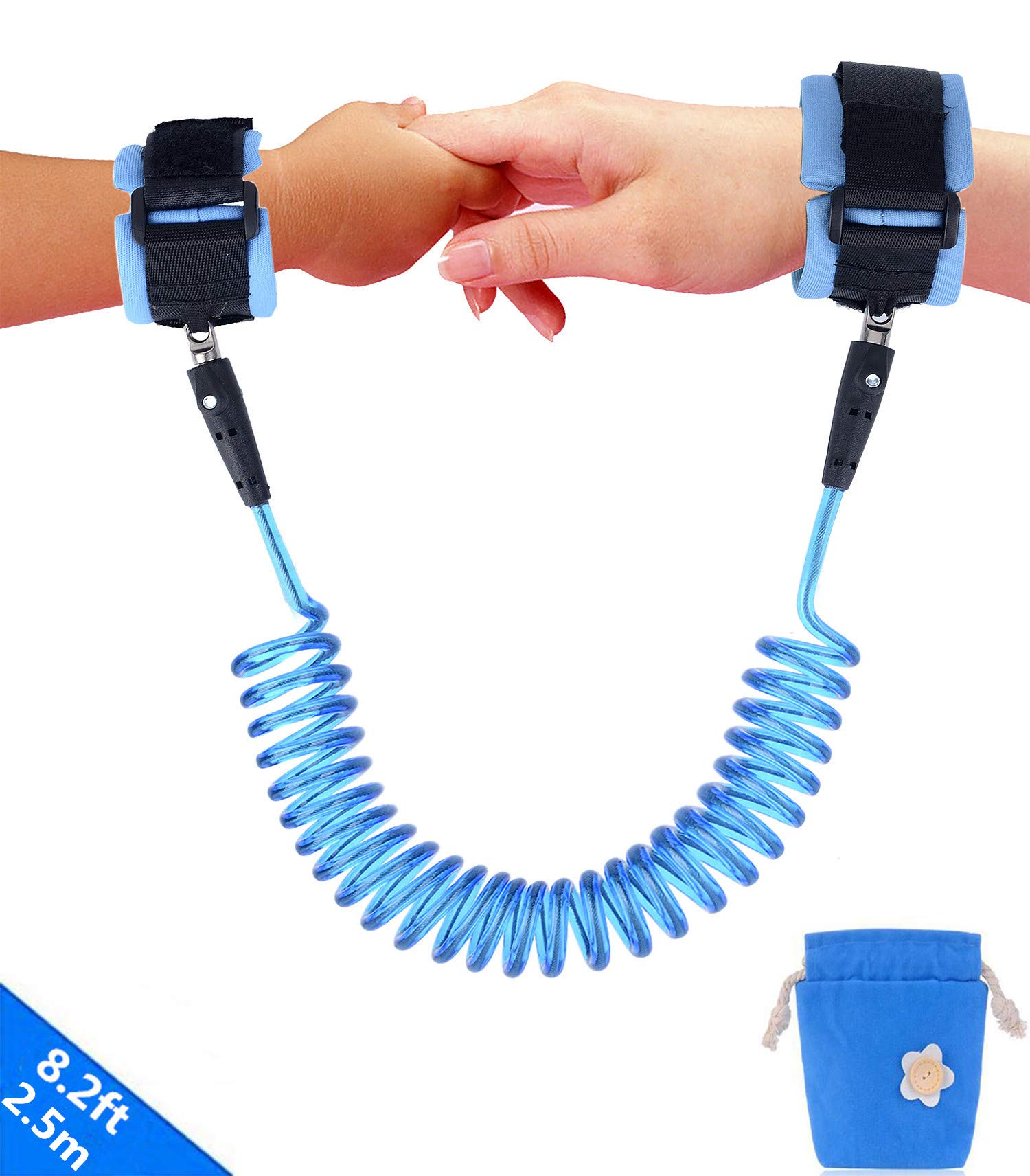 Emwel Anti Lost Wrist Link Belt, 2.5M/ 98Inch Baby Toddler Reins Safety Leash Wristband Walking Hand Belt Harness Security Elastic Wire Rope, Children Kids Travel Cares Safety Restraint (Blue) Emwel It includes a 2.5M /98inch anti lost link with 360 degree rotatable stainless metal buckle and a soft skin-friendly wrist band. Keep toddlers close, it gives toddlers independence but keeps them safe at the same time. Suitable for looking after toddlers, keep them close without watching them tightly. Eco-friendly buckle makes children feel at ease to play around, the breathable cotton materials can be used by your kids with no worries. Easy to use, Wrist straps are soft, Anti-pricking, Can Adjust size, comfortable for parent and childs. 1