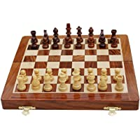 Best Chess Premium Wooden Handcrafted Folding Chess Set with Magnetic Pieces and Extra Queen, 7 Inches