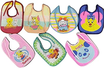 First Touch Waterproof Baby's Apron Bibs, Standard Size (Multicolour, MFN BIBS) - Pack of 7