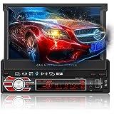 """Autoradio Bluetooth GPS, LESHP Radio Stéréo 1 DIN 7"""" HD 1080p Ecran Tactile Auto Rétractable, MP3 MP4 MP5 Audio Video Player/Commande au Volant/FM/AM/SD/USB avec Caméra de Recul/Antenne GPS/Carte 8G"""