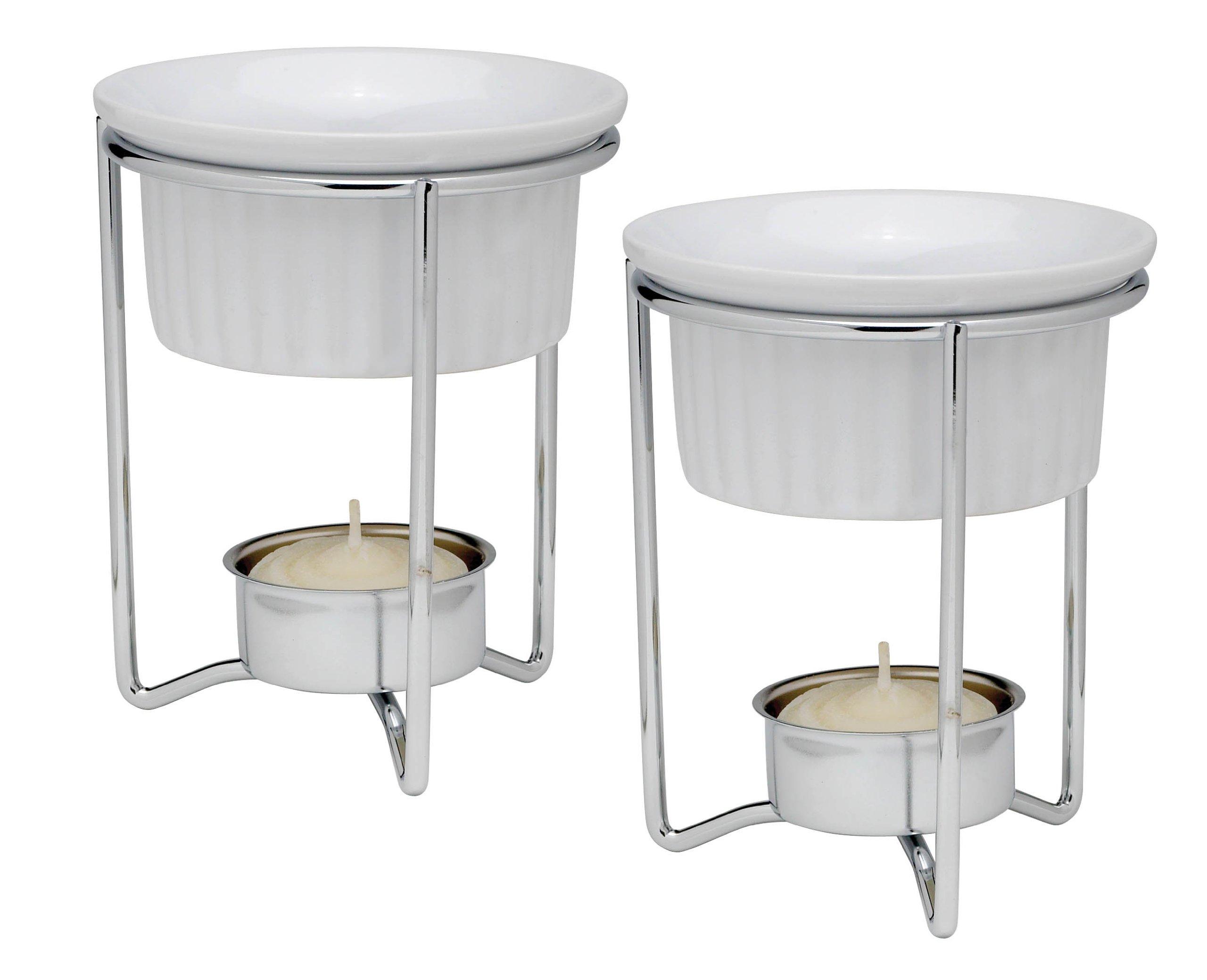 Hic Marche that Cuoco Bianco con supporto portacandela Scalda burro in ceramica, set di 2