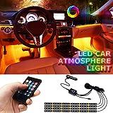 Lampade Interne a LED per Auto LETOUR, Striscia di Lampade Impermeabile per Atmosfera, 4 pezzi 72 LED 8 Colori con Sensore Au