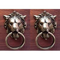YES I CAN Lion Mouth Brass Door Knocker Set (Antique Brass)