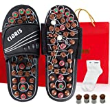 CLORIS Reflexology Acupressure Foot Massager Sandals with Jade Stones and Tourmalines,Massage Slippers Shoes, Foot Care Shoes