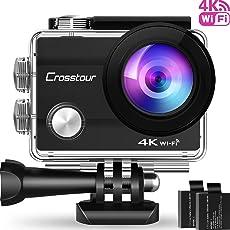"""Crosstour Action Cam 4K Wifi Sports Kamera Helmkamera 30M Wasserdicht Unterwasserkamera Ultra HD 2"""" LCD 170° Weitwinkelobjektiv mit 2 Batterien und kostenlose Accessoires"""