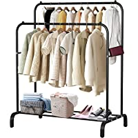 WLHome Multipurpose Clothes Rack with Bottom Shelves, Closet Organizer Coat Metal Clothes Drying Rack Steel Tube Clothes…