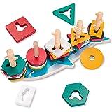 YGJT Jouet Bebe 1 an Jouet en Bois Jeux de Tris Formes À Trier Bloc Montessori pour Garçons Filles Motricité Fine Puzzle en B