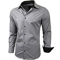Baxboy R-44, camicia da uomo a maniche lunghe, slim fit, facile da stirare, per lavoro, matrimonio, tempo libero
