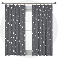 Deconovo Super Soft Thermal Insulated Pencil Pleat Star Printed Blackout Curtains for Bedroom with Two Matching Tie Backs 46 x 54 Inch Light Grey 2 Panels