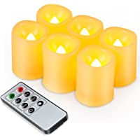 Kohree 6 x LED Candles with Timer Remote Controlled Battery Operated adjustable brightness Realistic Bright Flickering Flameless LED Tea Lights Ivory Votive Decoration for Christmas Easter Wedding