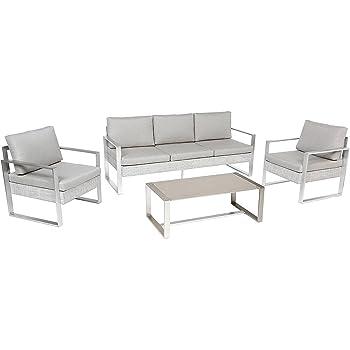 Salon de Jardin Ibiza en Tissu Gris Clair 4 Places - Aluminium Blanc ...