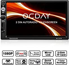 Doppel Din Autoradio,OCDAY 2 Din Autoradio mit FHD 1080P Touchscreen,Autoradio MP5 Spieler Bluetooth,Mirrorlink((Android Phone),USB/TF/ FM/AM/RDS Radio Tuner/Aux in/Unterstützung Rückfahrkamera