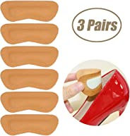 Heel Grips Pads Liner for Loose Shoes,Leather High Heel Pads for Shoes Too Big,High Heel Inserts for Women Men Anti Slip Blister, High Heel Insoles,3 Pairs (Khaki, Thick)