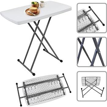 Todeco - Table Pliante Ajustable, Table Compacte et Pliable - Matériau: Acier - Surface supérieure: 76 x 50 cm - 76 x 50 x 51/63/74 cm, Blanc