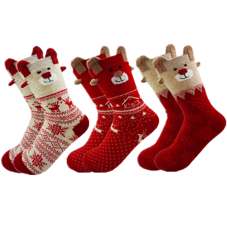 Les filles de Noël Chaussettes Fille Riche en Coton Nouveauté Noël Coton Riche Chaussettes Pack de 3 NEUF