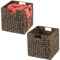 mDesign boîte de rangement à poignées (lot de 2) – panier tressé pratique en jacinthe d'eau – panier pour vêtements…
