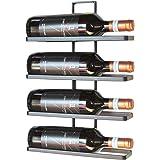 DanDiBo Wijnrek metaal zwart wandmontage 4-wijn willekeurig uitbreidbaar flessenrek flessenhouder wand (4 flessen / 1 stuks)