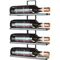 DanDiBo Etagère à vin en métal Noir pour Montage Mural 4-Wine 4 Bouteilles Extensible Support à Bouteilles Etagère à…