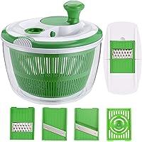 GreensKon   Rotatore per Insalata con 3 mandolini e 1 separatore per Uova  centrifuga per lattuga con Ciotola  in plastica Senza BPA  Verde  5 l