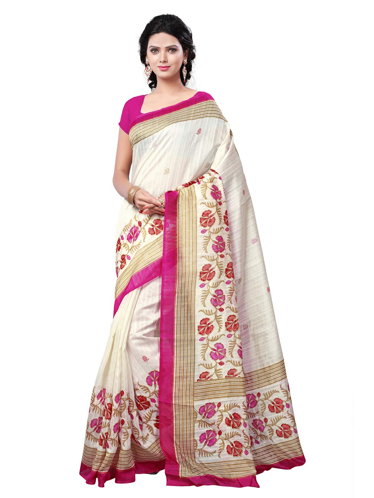KANCHNAR Cotton Silk Saree With Blouse Piece(263S9_Off-White Free Size)