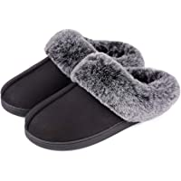 VeraCosy Women's Classic Suede Memory Foam Slippers Anti-Skid Scuff with Warm Faux Fur Collar