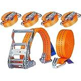 4 x 2 000 kg 6 m spärr knyt ner fransremmar med krokar Spänningsbälte spärrband 35 mm 2 delar set