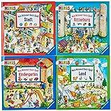 Verkaufs-Kassette Ravensburger Minis 104 - Mein Wimmel-Such-Spaß: Mein Wimmel-Such-Spaß: Land / Mein Wimmel-Such-Spaß: Ritterburg / Mein ... Stadt. 4 Titel à 10 Exemplare