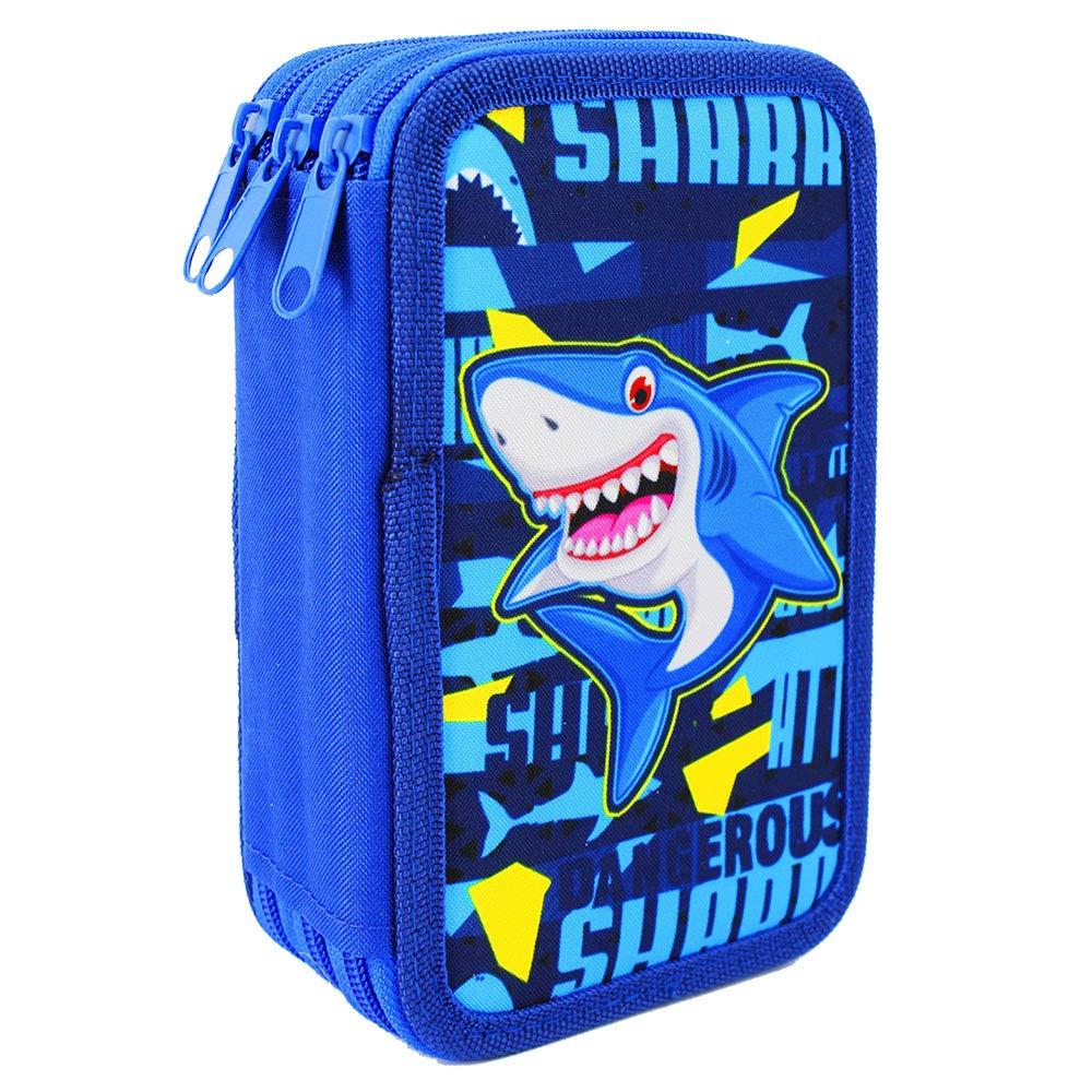 Starplast, Estuche Escolar Plumier, 3 Compartimentos, 16 Lápices de Colores, 16 Rotuladores de Colores, Sacapuntas, Goma, 3 Bolígrafos para Uso Escolar, Regalo, Diseño Tiburon Shark