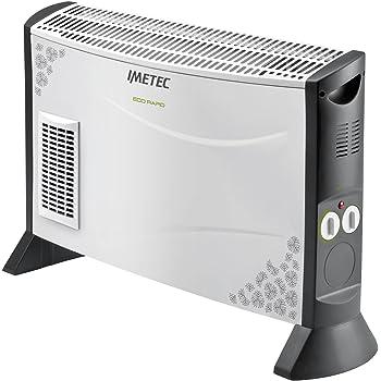 Imetec Eco Rapid TH1-100 Stufa elettrica 2000 W con Tecnologia a Basso Consumo Energetico, 4 Temperature, Termostato Ambiente