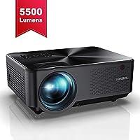 Vidéoprojecteur, YABER Mini Projecteur Portable 5500 Lumens Résolution Native 1280*720p, Retroprojecteur avec Haut-parleurs Stéréo HiFi, Couvercle en Métal, Supporte HDMI / USB / VGA / AV( Noir )