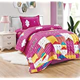 Kids 3Pcs Compressed Comforter Set, Single Size, Hello Home By Moon, Pink, Mixed Material