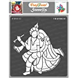 thecraftshop CrafTreat Stencil Sitting Radha Krishna Reusable Painting Template for Art and Craft (6X6-inch)