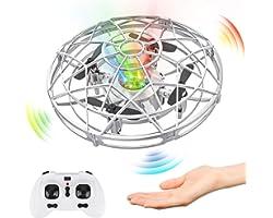 Baztoy Mini UFO Drone, Elicottero RC e Controllo Manuale con Luce LED Aereo Giocattolo Volante per Bambini 3 4 5 6 7 8 Anni G