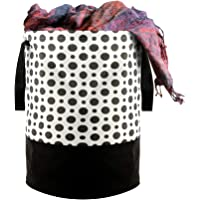 Kuber Industries Polka Dots Printed Waterproof Canvas Laundry Bag, Toy Storage, Laundry Basket Organizer 45 L (Black…
