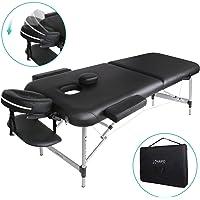Naipo Table de Massage Cosmétique Lit de Massage Kiné Pliante Professionnel Portable Ergonomique table Canapé Pieds en Aluminium Thérapie Léger Confort Noir