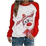 LANSKRLSP Maglietta a Maniche Lunghe con Stampa di alci di Natale Felpa Girocollo Maglione Donna Invernale Corto Felpa…