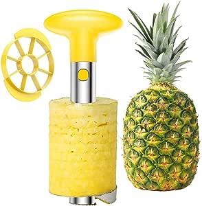 SameTech Strumento per sbucciare ananas e per rimuoverne il torsolo, in acciaio INOX, strumento per la cucina facile da usare