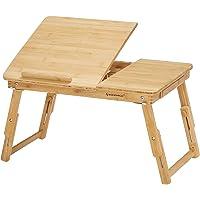 SONGMICS Table de lit pliable, en Bambou, Table pour ordinateur portable, Hauteur réglable, avec Tiroir, Dimensions 54,5…