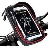 LEMEGO Support Téléphone Vélo Etanche, Sacoche Vélo Guidon Cadre Housse Etui Smartphone pour Vélo VTT Moto Scooter avec Pochette Rangement Ecran Tactile Transparent pour Smartphone sous 6 Pouces